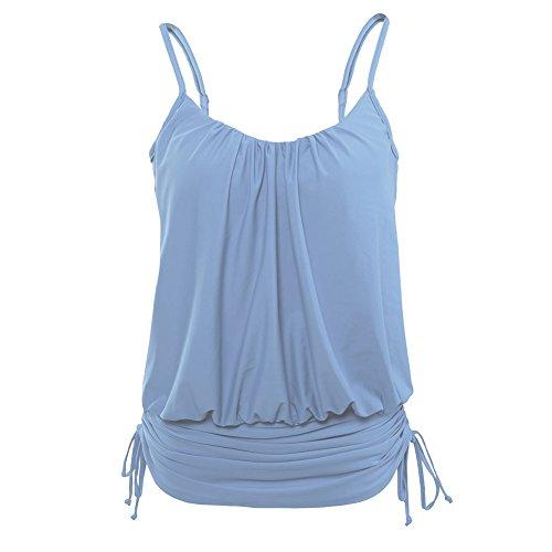 Erica Mujeres de playa correas halter bikinis una pieza de traje de baño de impresión inalámbrico acolchado sujetador ajustable vestido de natación Light Blue