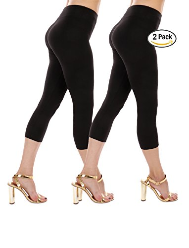 Premium Soft High Waist Yoga Leggings-Ankle Length & Cropped Capri -One Size Fits 3 Sizes-Made In The USA (2pk-Capri (Black), One size/0-6 (XS,S))