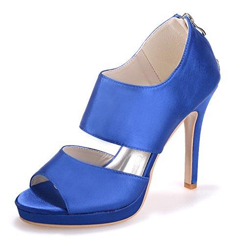 Qingchunhuangtang@ Chaussures Mode chaussures grande taille en satin à talon haut Sandales Chaussures de mariage partie du poisson de chaussures Le bleu KMVPXy