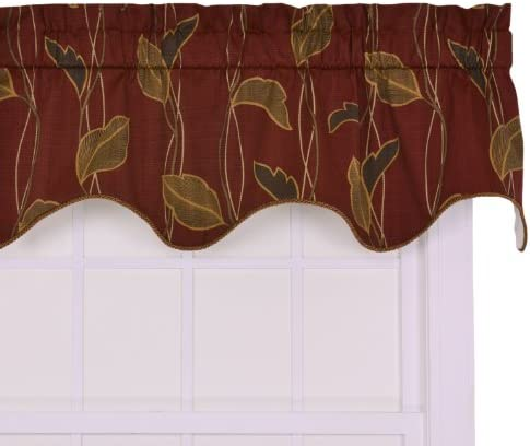 Ellis Curtain Riviera Large Scale Leaf and Vine Lined Duchess Filler Valance Window Curtain, Cinnamon