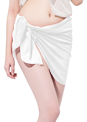 LD DRESS Chiffon Cover up Swimwear Beach Sarong Pareo Canga Swimsuit Wrap - Womens Shorts Suit White