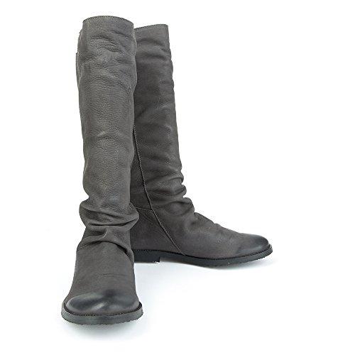 Felmini - Zapatos para Mujer - Enamorarse con Clash 9072 - Botas Altas Classicas - Genuine Cuero - Gris - 0 EU Size
