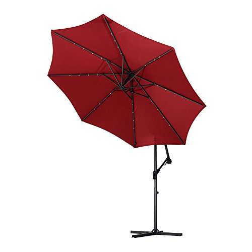 Outsunny 10' Steel Outdoor Offset Tilt Patio Umbrella with S