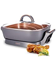 """CRUX Extra Deep Nonstick Scratch Resistant Electric Skillet with Removeable Temperature Probe, 12"""" x 12"""""""