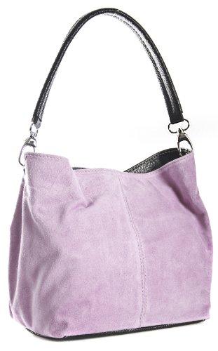 LiaTalia - Pequeño bolso cabas/tote/hobo de hombro o mano para mujer de gamuza suave - 'Demi' Z** (Liquidación) - Rosapálido