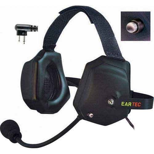 Eartec Xtreme Double Ear Heavy Duty Shell Mount PTT Headset with Mic and Motorola 2-Pin Connector for Wireless Radio -