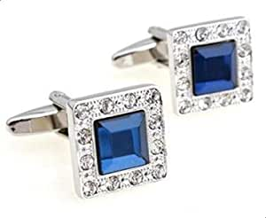 ازرار اكمام للقمصان بتصميم عصري بلون ازرق مع كريستالات محيطة بلون فضي للرجال، مجوهرات للرجال c14
