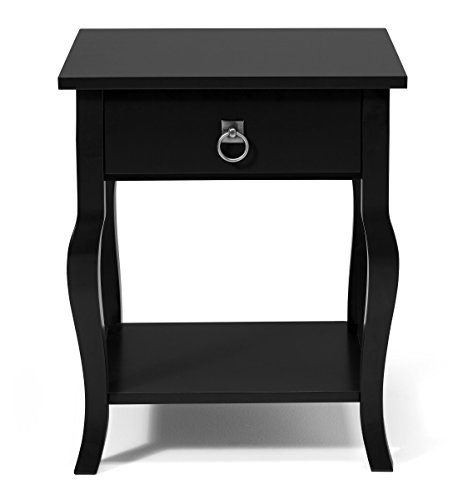- Kate and Laurel Lillian Wood Side Table Curved Legs with Drawer and Shelf, 20