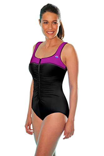 Aquamore Chlorine Resistant Berry Color Block Front Zipper One Piece Swimsuit Size 16 ()