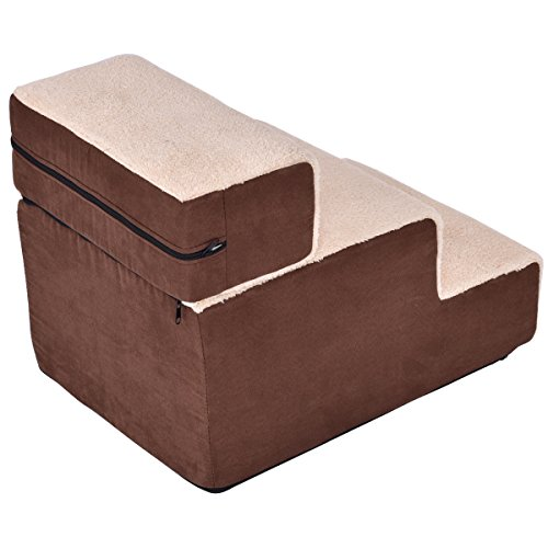Giantex Portable Pet Stairs 3 Step Soft Step Ramp Home D Cor For Dog Cat Cotton Brown Price