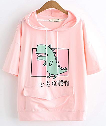 CRB Fashion Womens Teens Animal Anime Cute Emo Dinosaur Cosplay Cartoon Shirt Hoodie Hoody Top Jumper Sweater (Dino Pink SS) -