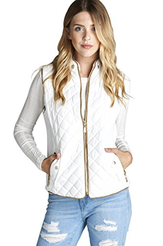 Active USA Quilted Padding Vest With Suede Piping Details Sizes from S to 3XL (Off (Suede Piping)