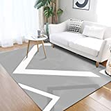 Cheap YAMTION Rug for Living Room, 4'x 6 Modern Multi-Function Area Rugs Collection, Non Slip Geometric Gray Soft Shaggy Carpet, Indoor Bedroom Rugs in Nursery, Dining Room, Office, Dormitory