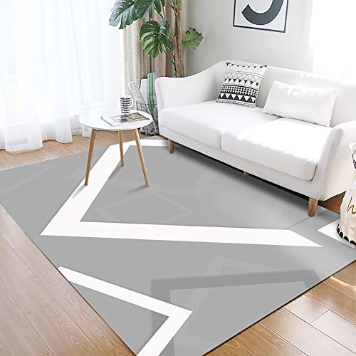 YAMTION Rug for Living Room, 4'x 6 Modern Multi-Function Area Rugs Collection, Non Slip Geometric Gray Soft Shaggy Carpet, Indoor Bedroom Rugs in Nursery, Dining Room, Office, Dormitory (Chevron Target Rug)