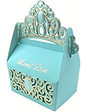 Keweis 50pcs Candy Boxes Shiny Glitter Crown Sweet Love for Wedding Favor Valentine Party Favor Gift Bag (Blue)