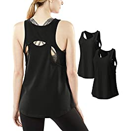 TSLA Women's Dri Racerback Workout Cool Fitness Tank Top Shirt (Pack of 1, 2)