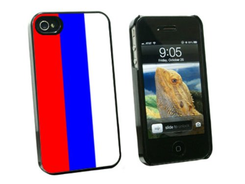 Graphics and More Russian Federation Flag - Snap On Hard Protective Case for Apple iPhone 4 4S - Black - Carrying Case - Non-Retail Packaging - Black