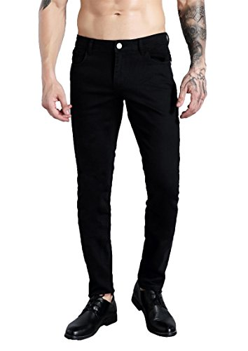 ZLZ Slim Fit Jeans for Men Super Comfy Stretch Skinny Straight Leg Fashion Jeans Pants (32, Black) - Skinny Stretch Pants
