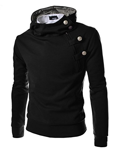 TheLees (R4BH Mens Casual Luxury Buckle Hoodie Slim Cotton Sweatshirts Black US L(Tag Size 2XL) (Buckle Hooded Sweatshirt)