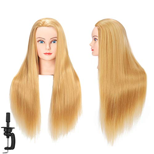 Hairginkgo Mannequin Head 26'-28' Super Long Synthetic Fiber Hair Manikin Head Styling Hairdresser Training Head Cosmetology Doll Head for Cutting Braiding Practice with Clamp (92018W2720)