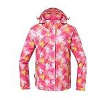 Reopen Girl's Outdoor 3 in 1 Sports Jacket Mountain Waterproof Ski Jacket with Inner Detachable Fleece Coat (160/76A, Pink)