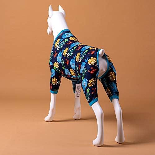 LovinPet Pijamas para perros grandes / Jersey elástico estampado de punto con estampados de la familia marina / Pijamas ligeros para mascotas / Pijamas para perros de cobertura completa Mono para perros grandes 7