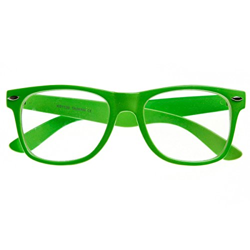 - Retro Party Super Neon Color Horn Rimmed Style Eyeglasses Clear Lens Glasses (Green)