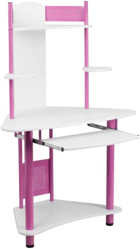 Flash Furniture Pink Corner Computer Desk with Hutch , White Pink