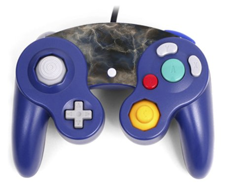 (Marble Blue White Grey Stone Pattern Texture Background Gamecube Controller Vinyl Decal Sticker Skin by Moonlight Printing)