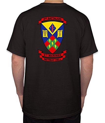 2nd Battalion 5th Marines USMC Marine Corp WWII Black Short Sleeve Shirt (X-Large)