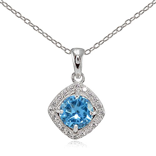 - Sterling Silver Simulated Blue Topaz 7mm Round and CZ Accents Necklace