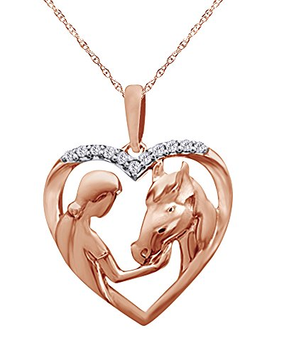 Diamond Accent Girl with Horse Pendant Necklace in 14K Gold Over Sterling Silver (Accent Pendant Diamond Clover)