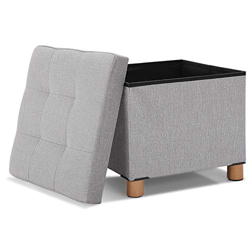 15 Inches Foldable Small Gray Storage Ottoman with Tray Top and Storage, Collapsible Cube Foot Rest Ottoman Chair Seat Small Space Support 220 Lb with Wooden Feet for Bedroom Living Room Linen Gray