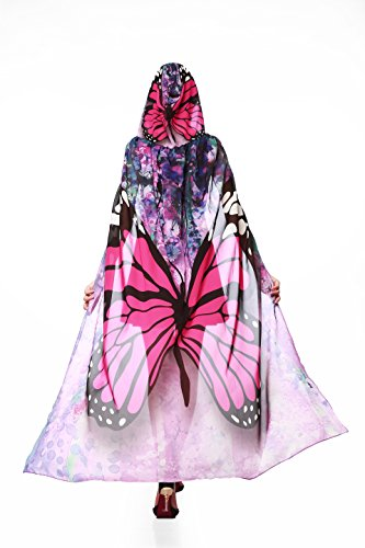 [Ryshman Party Costume, Soft Fabric Butterfly Wings Shawl Fairy Pixie Accessory (Red Butterfly)] (Skeleton Wings Costumes)