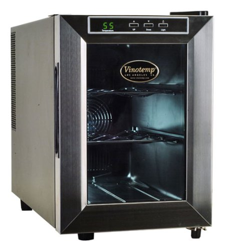 Vinotemp 6 Bottle - Vinotemp VT-6TEDS Thermo-Electric Digital 6-Bottle Wine Chiller, Black and Stainless