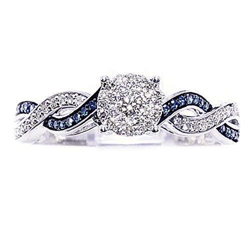 Engagement Rings Kuwait: Blue Diamond Engagement Ring 10K White Gold Infinity Sides