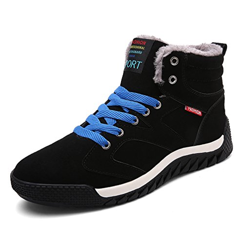 AFFINEST Men's Snow Boots Suede Leather Winter Ankle Shoes Fur Lined Fashion Sneakers Lace Up For Outdoor Sports Hiking Climbing Walking (Black,48)