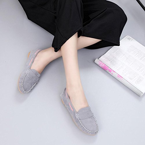 Clode® Fashion Womens Ladies Ballets Flats Faux Suede Flat Shoes Loafers 2016 Size UK Gray SqGhmK
