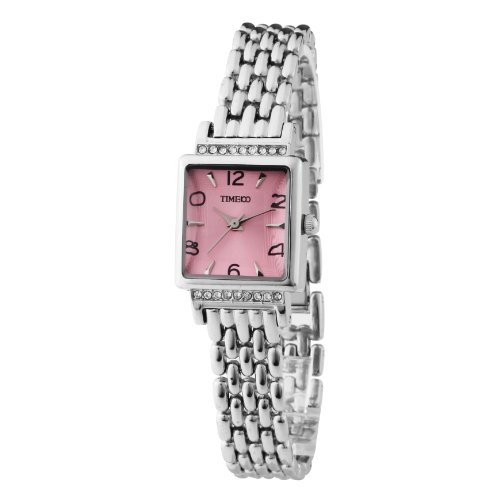 TIME100 Womens Ladies Pink Square Dial Watch Fashion Simple strainless steel Waterproof Quartz Watch