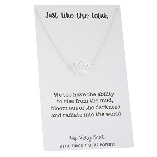 My Very Best Dainty Lotus Necklace (Silver Plated Brass)