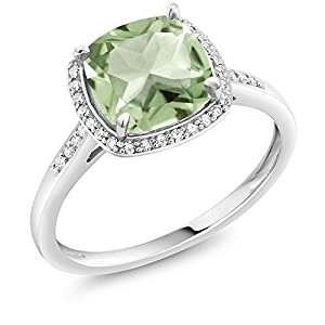 10K White Gold Cushion Green Prasiolite and Accent Diamonds Women's Engagement Ring (2.05 Ctw Available in size 5, 6, 7, 8, 9)