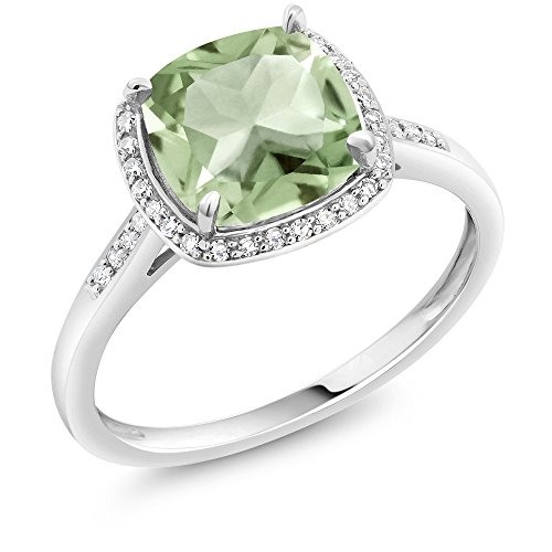 2.05 Ct Cushion Green Amethyst 10K White Gold Ring with Accent Diamonds (Ring Size (Gem 10k Ring)