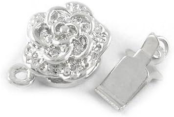 Packet 5 x Platinum Brass Flower Box Clasps 10 x 15mm Y03610