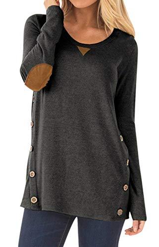 Dutebare Women's Casual Long Sleeve Faux Suede Loose Tunic Shirt Button Blouses Tops Z-Dark Gray M ()