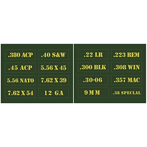 Raiseek .22 .223 .308 .30 .357 9MM .380 .40 .45 5.56 7.62 12GA Ammo Can Vinyl Skin Sticker Decal Molon Label Bullet