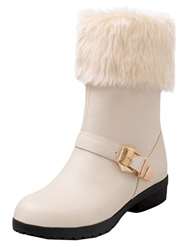 Beige Booties Snow Low SHOWHOW Fluffy Women's Heel On Pull Buckle Ankle Fur With 47gwRxTZgq