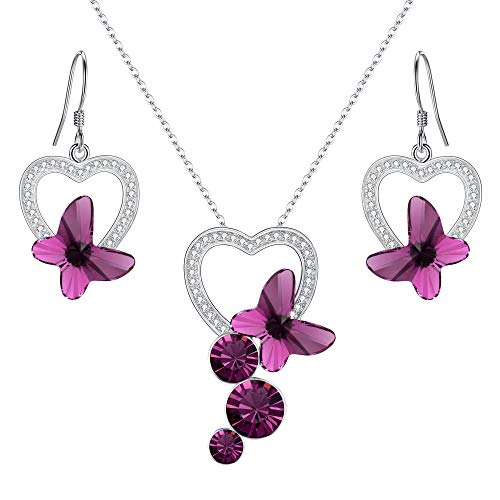 (EleQueen 925 Sterling Silver CZ Butterfly Bridal Pendant Necklace Hook Drop Earrings Set Purple Made with Swarovski Crystals)