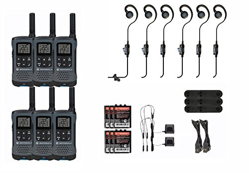 Motorola Talkabout T200TP Two Way Radio 6 Pack Set with PTT Mic Hook Earpieces 6 PACK