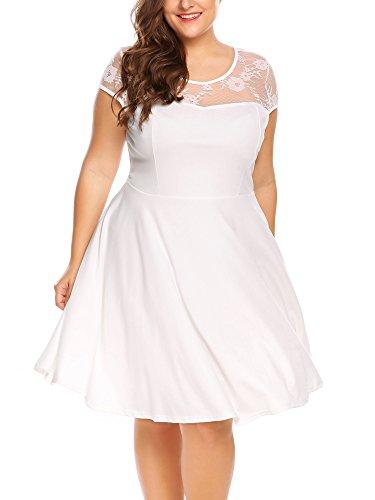 Plus Size Dresses Cocktail Wedding Party Dress Vintage Lace Casual Midi Floral Dress White