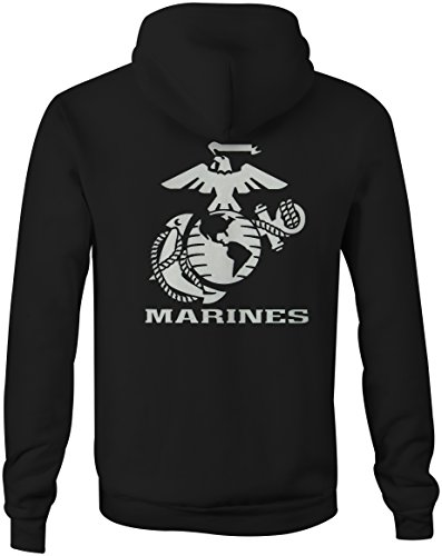 Globe Mens Hoodie (US Marines Eagle Globe Anchor Crest USMC Semper Fi Full Zip Sweatshirt - 3XL)